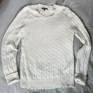 GAP off white cable knit pullover sweater large